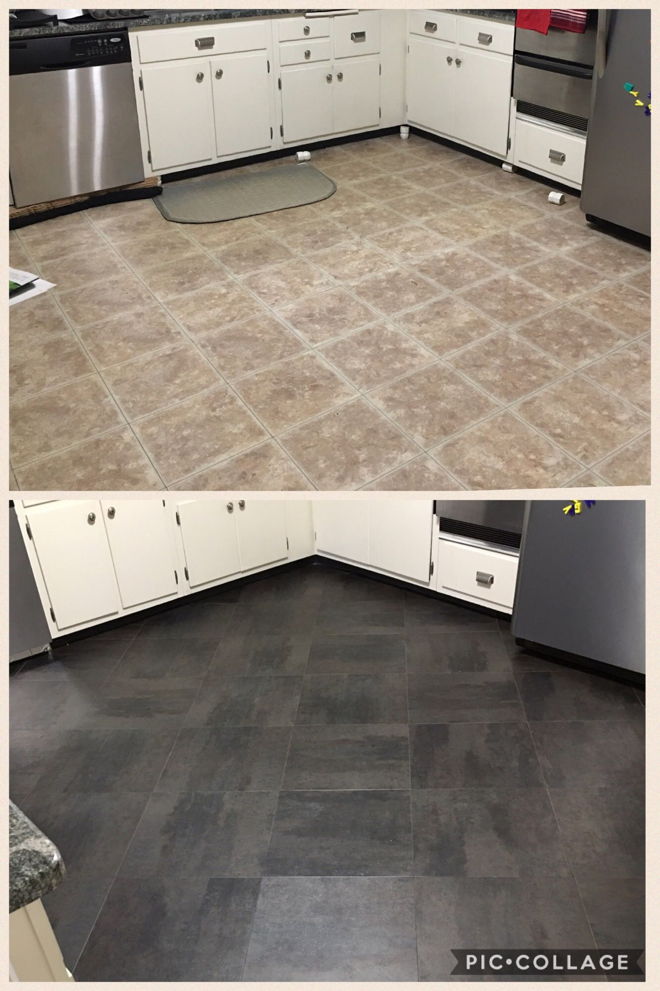 Kitchen Floor Before After For Only 280 Gray Slate Look Vinyl Peel And Stick Tiles Easy And Cheap Stick On Tiles Peel And Stick Tile Kitchen Vinyl