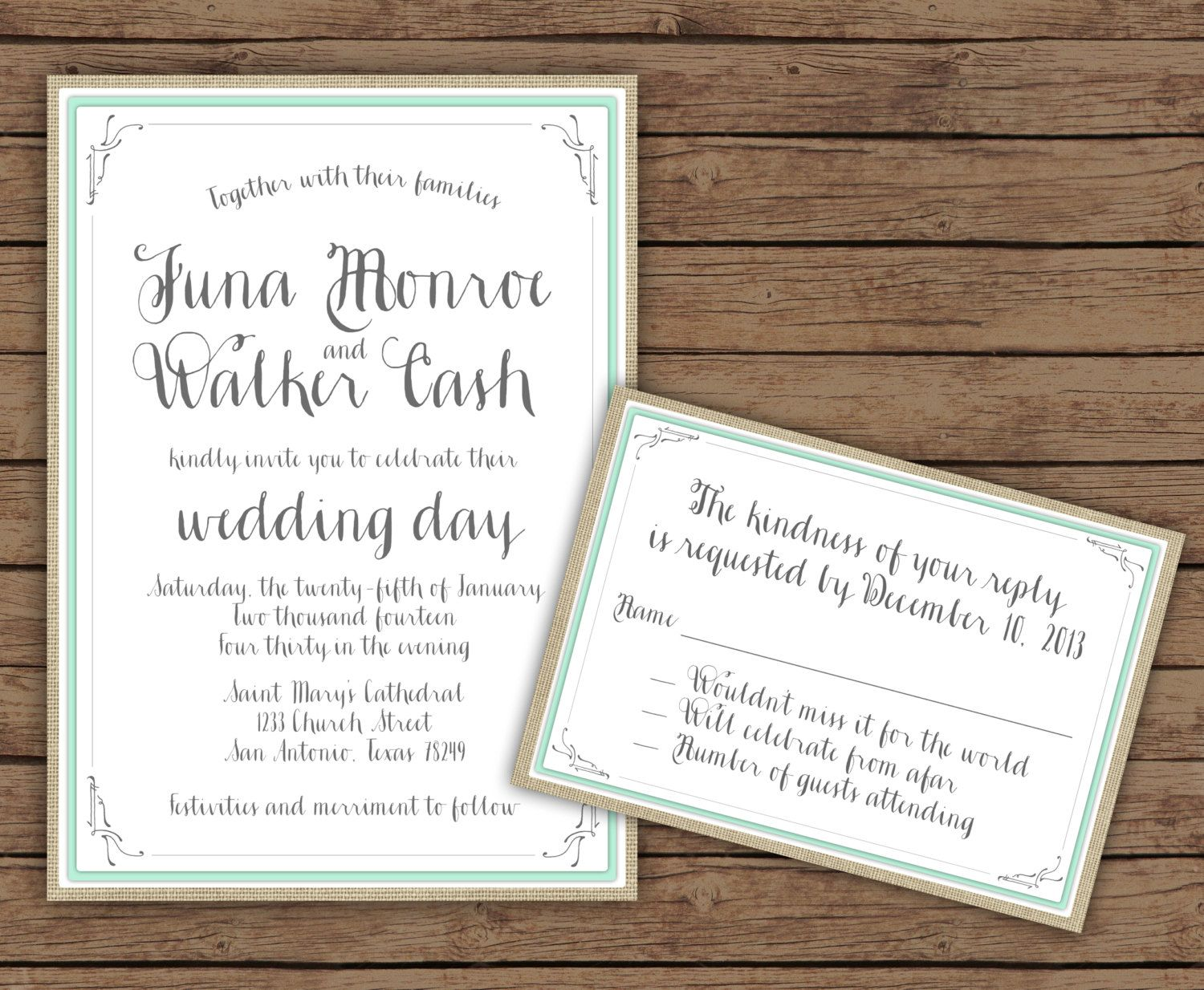 Custom Modern Calligraphy Floral Wedding Invitation with RSVP ...