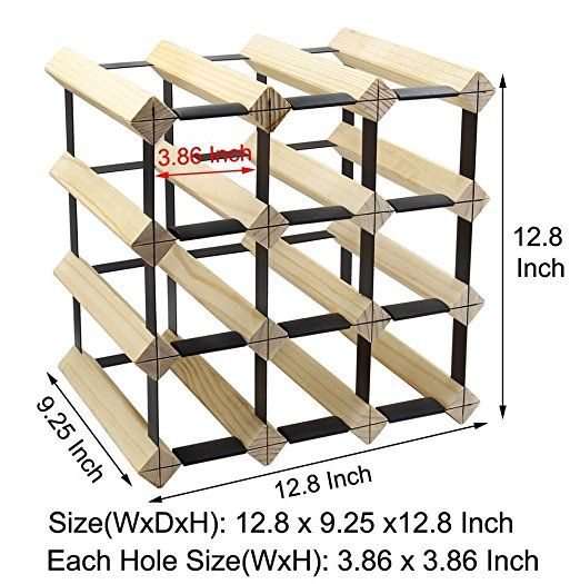 Amazon Com Pag 12 Bottle Wooden Wine Rack Stackable Storage Stand Bottles Holder Display Shelf Natural Home Kitchen Stackable Storage Wine Rack Storage