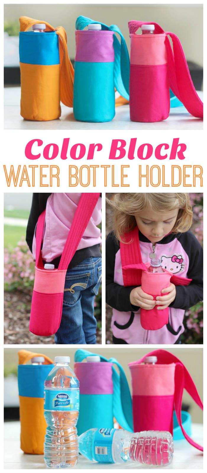Color Block Fabric Water Bottle Holder Tutorial | Water ...