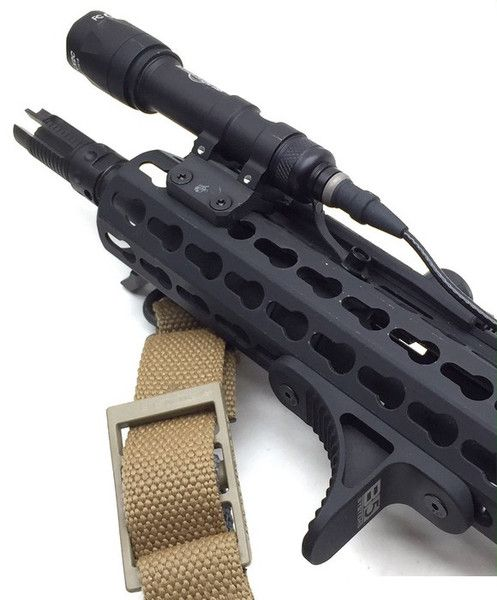 This is the Grip Stop from B5 Systems. It is constructed from lightweight aluminum, and its designed to enhance your grip and provide more control over your ri