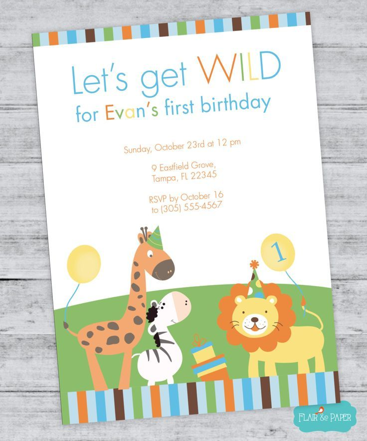 Jungle Animals Birthday Invitation Lion Birthday Invitation Zebra ...
