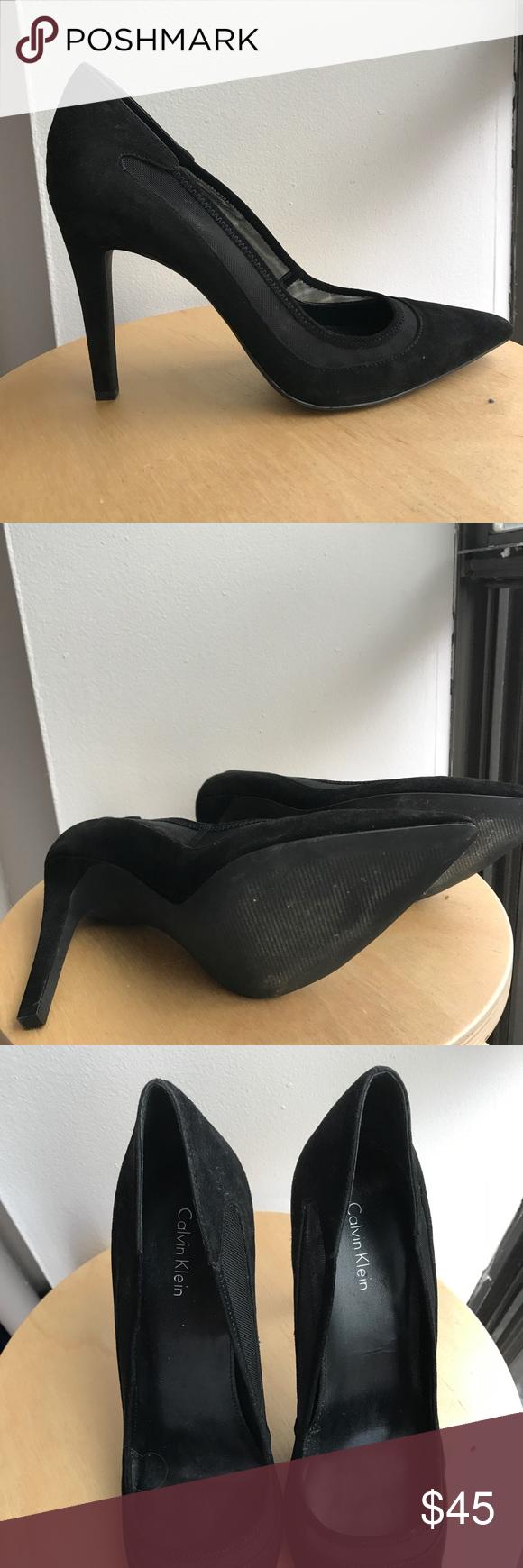 Calvin Klein Suede Stilettos with Mesh