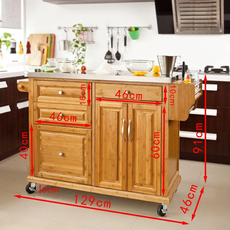 SoBuy Luxus-Carrito de cocina con piso de acero, estantería de ...