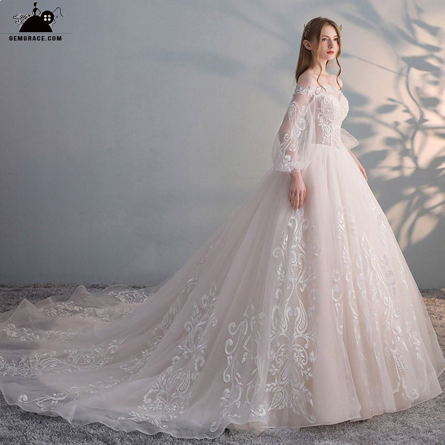 Only $248.99, Wedding Dresses with Sleeves Gorgeous Off Shoulder Unique Lace Bal… – dress