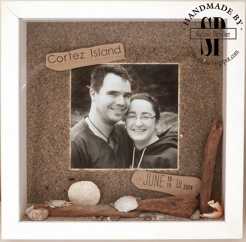 The Crafty Medic: Shadow Boxes: Cortez Island - Stampin' Up! Hardwood stamp set with photopolymer dates and alphabets, sand and other beach stuff for a shadow box.