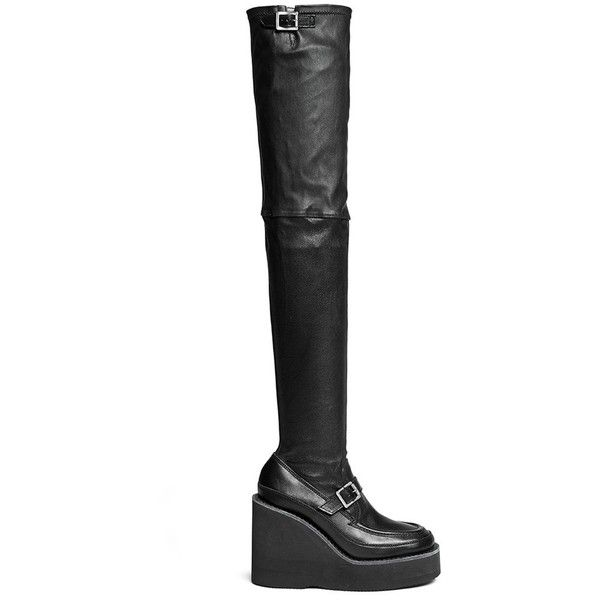 Sacai Thigh high leather loafer wedge boots (5.270 BRL) ❤ liked on Polyvore featuring shoes, boots, black, black loafers, thigh high leather boots, black thigh-high boots, over the knee boots and black over-the-knee boots