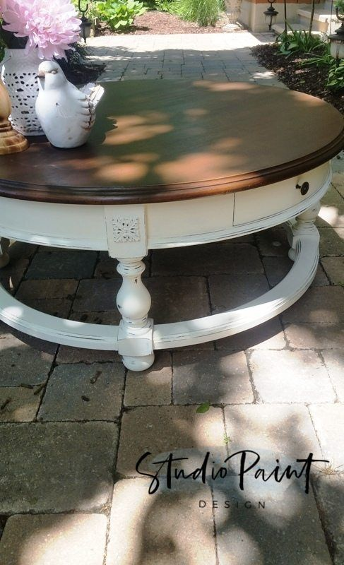 Farmhouse Painted Round Coffee Table Painted Coffee Table Refinished Coffee Table Annie S Coffee Table Farmhouse Painted Coffee Tables Coffee Table Refinish