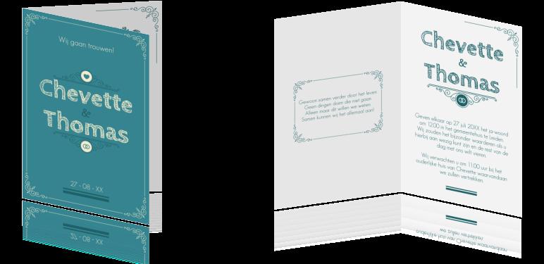 Vintage trouwkaart met klassieke ornamenten #Vintage #trouwkaart met klassieke #ornamenten in #blauw, #groen, #turquoise en #creme, #sierlijk en #barok. met #CabinSketch #lettertype #trouwkaartVintage #trouwkaartOrnament
