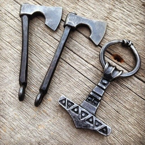 faramforge:  Axe pendants and a Thor's hammer forge from steel #viking #blacksmithing #jewelry #forged