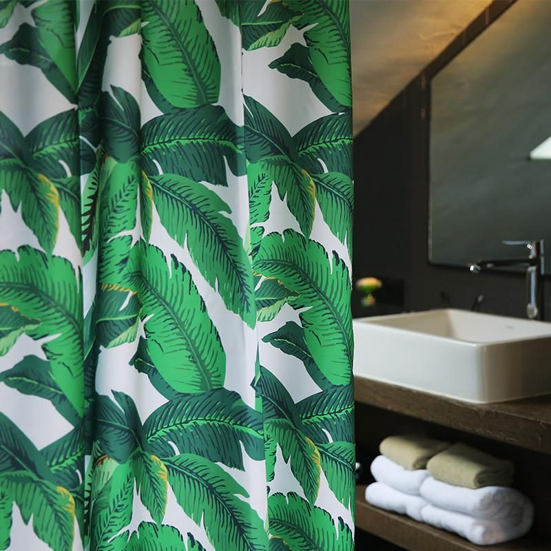 Eco Friendly Green Design Waterproof Fabric Bathroom Shower