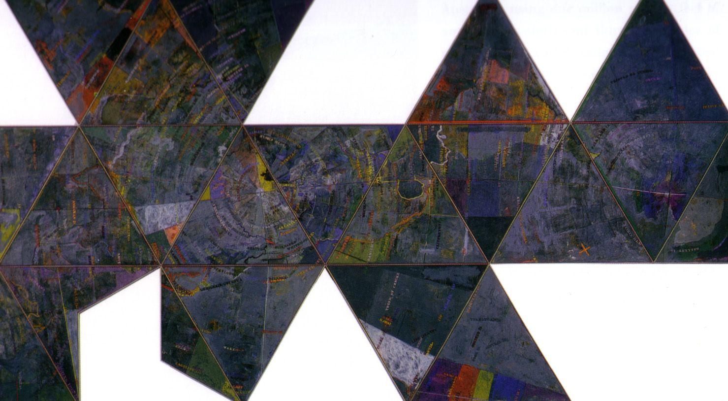 Jasper johns map based on buckminster fuller s dymaxion airocean