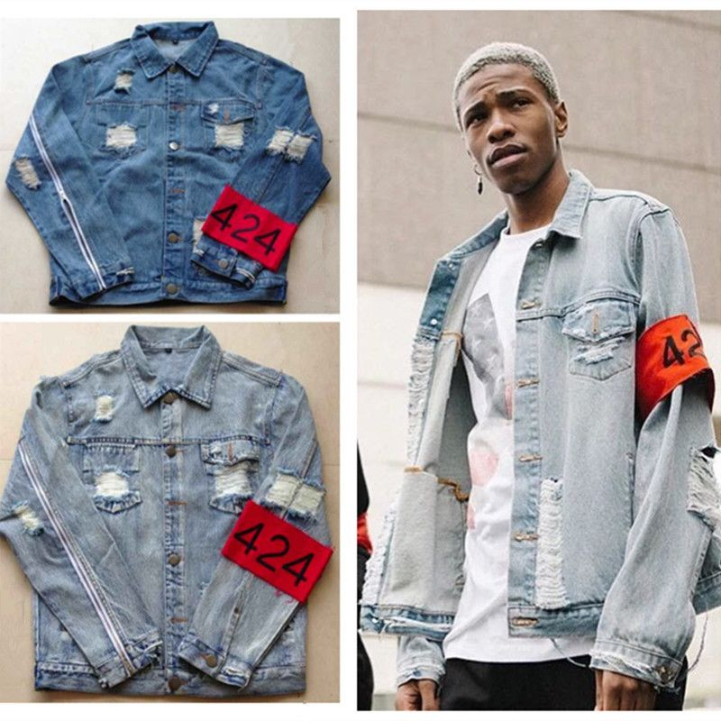 New mens hip hop ripped jeans denim jacket coat fear of god ...