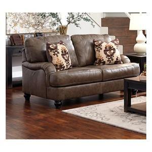 Ashley Kannerdy Leather Loveseat In Quarry Nebraska Furniture