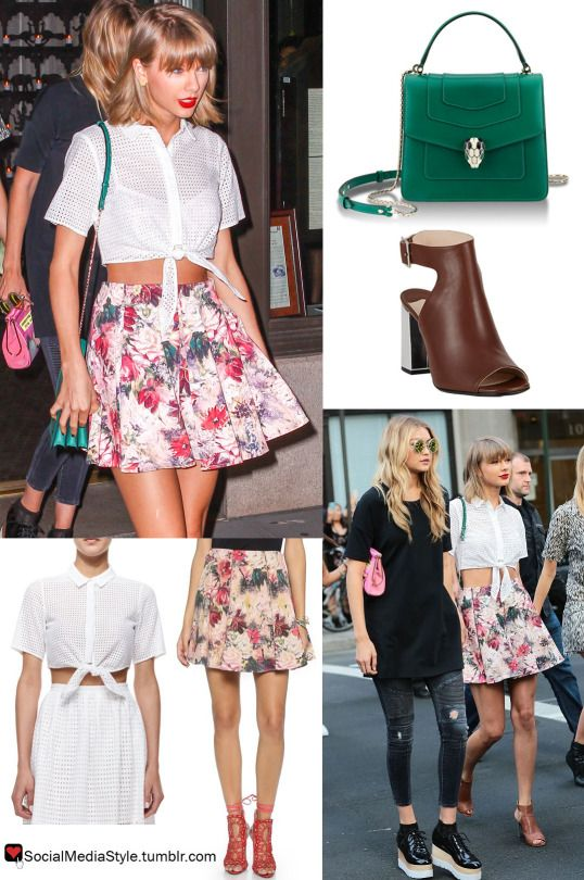 Buy Taylor Swiftu0027s Green Purse, Tie Front White Crop Top, Floral Print Skirt