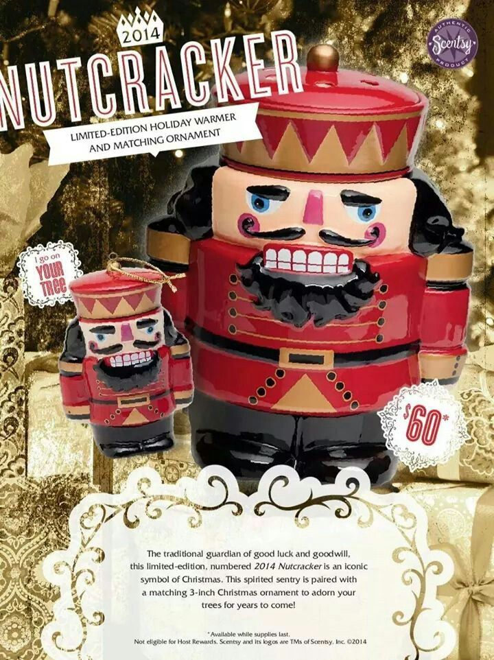 Limited Edition warmer... Nutcracker. There were only a certain number made and they are all numbered. For $60, plus tax and shipping, you will get the warmer and the the cute matching ornament. Must be ordered online at this time... www.dhurst.scentsy.us