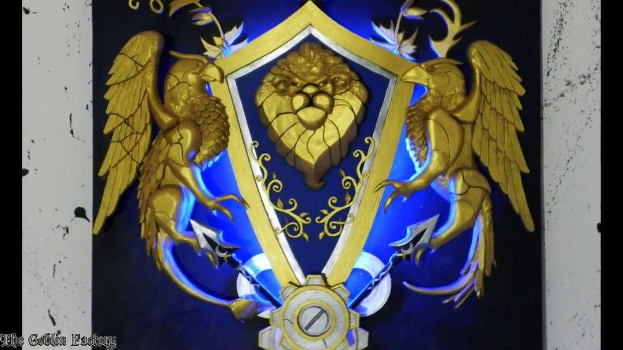 Alliance crest World of Warcraft wall art with LEDs | Shameless ...