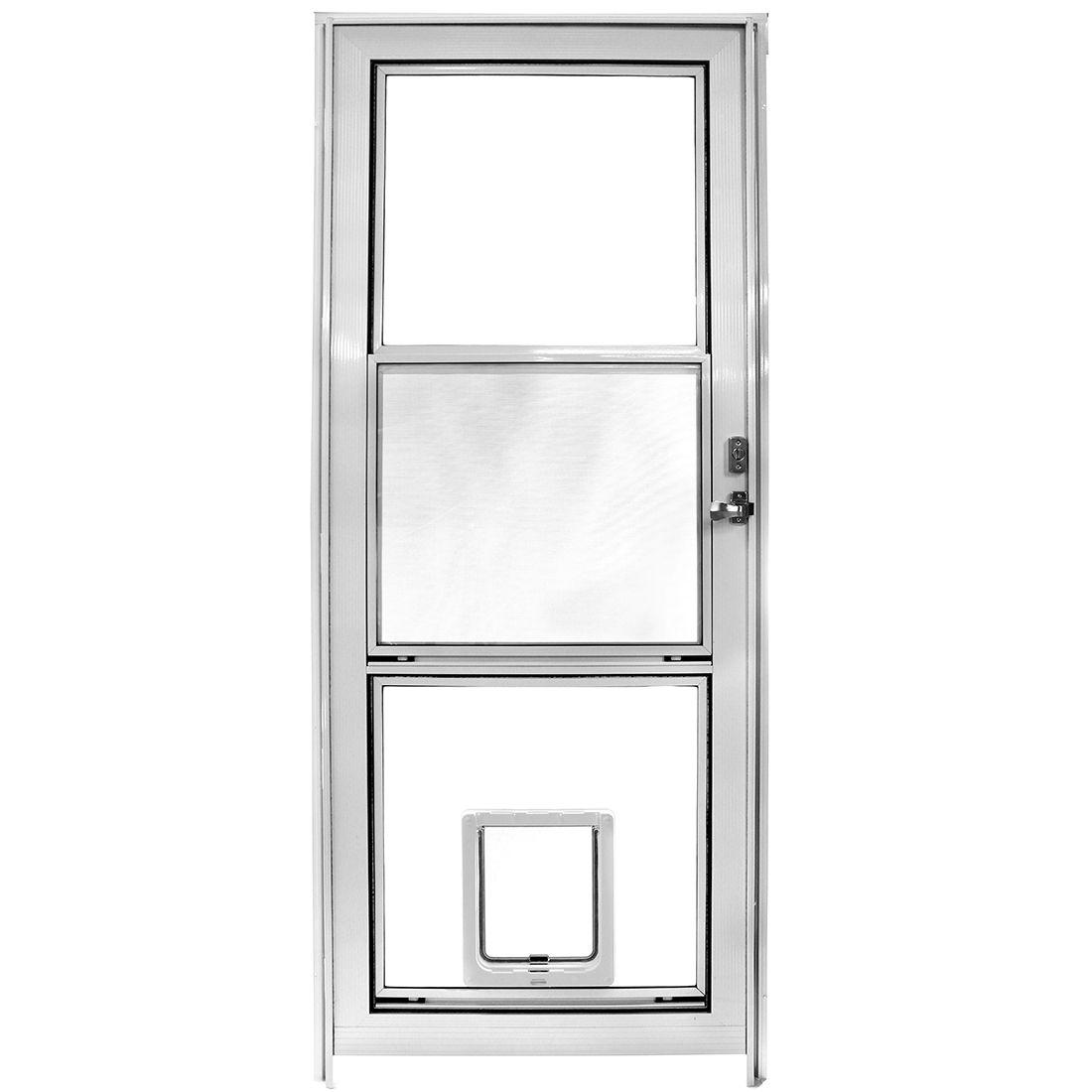 Glass vent storm door with dogmate pet door installed in