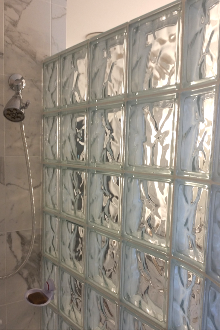 Marble Small Block : Classic glass block shower wall with marble tiles