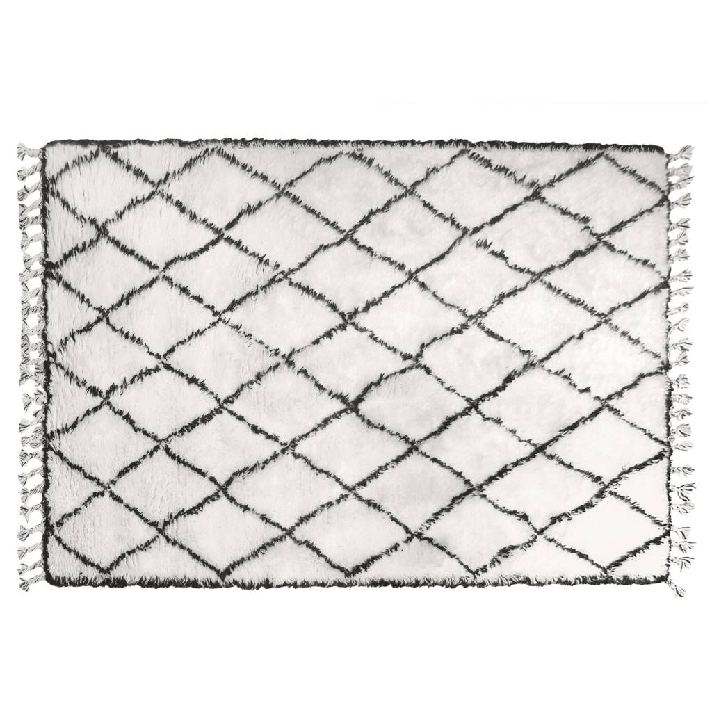 Berber teppich muster  HK-living Berber Teppich Fransen Wolle Schwarz-Weiß-Rautenmuster ...