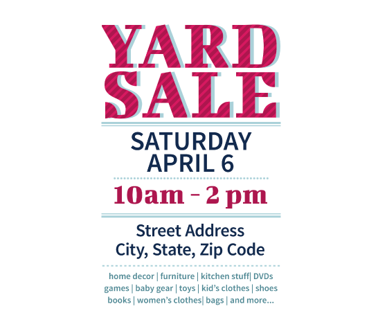 image relating to Printable Garage Sale Signs identify Obtain this Backyard Sale Flyer Template and other cost-free