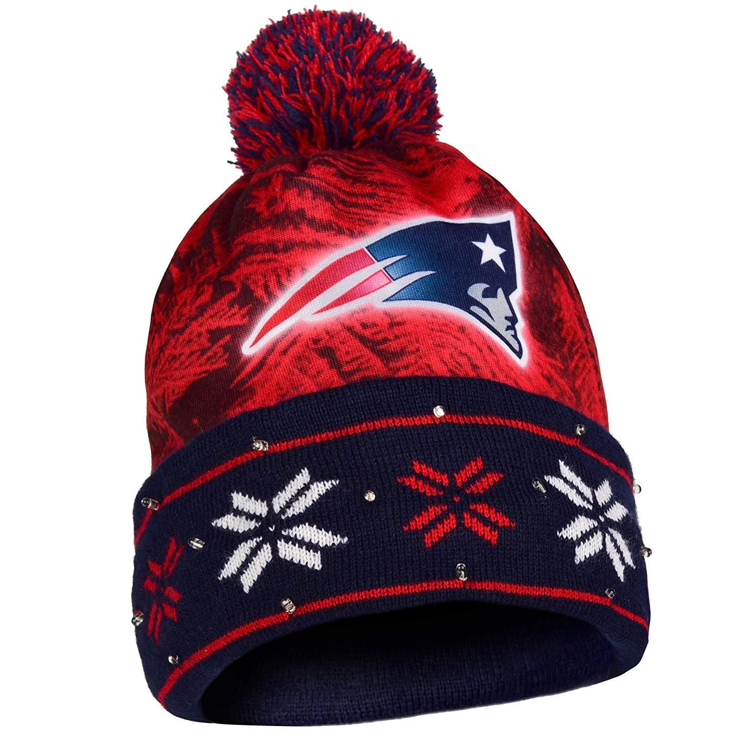 New England Patriots Big Logo Light Up Printed Beanie Knit Cap In 2020 New England Patriots Knit Cap Beanie