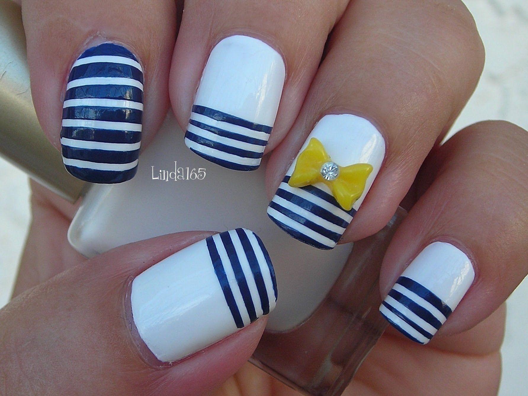 Nail Art Nautical Stripes Decoraci n de U as L neas Nauticas