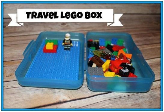 "Travel Lego Box is part of Lego boxes, Road trip with kids, Travel toys, Lego for kids, Travel box, Toddler travel - We love to road trip with our kids  In doing so, I always try to have several ""car only"" items for them to play with on the journey  One of their favorites is their Travel Lego Box, and it was so simple to make  I bought a plastic school box for $1, a small Lego …"