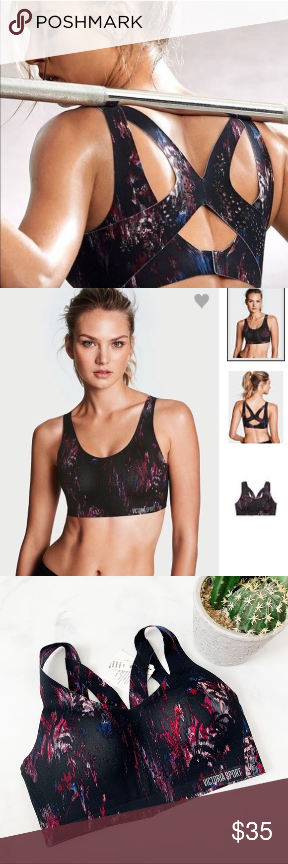 55b735e01 Victoria s Secret Sport Angle Max Sports Bra Brand new with tags!  (005-vsbag) PRODUCT DETAILS  •Size  32D   32 D •Colors  Black Blue Pink Wine  Gray •Made in ...