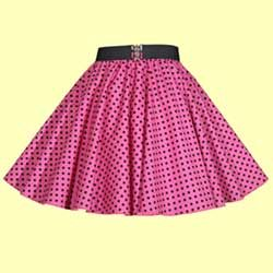Childs Pink with Black Polkadot Full Circle Skirt