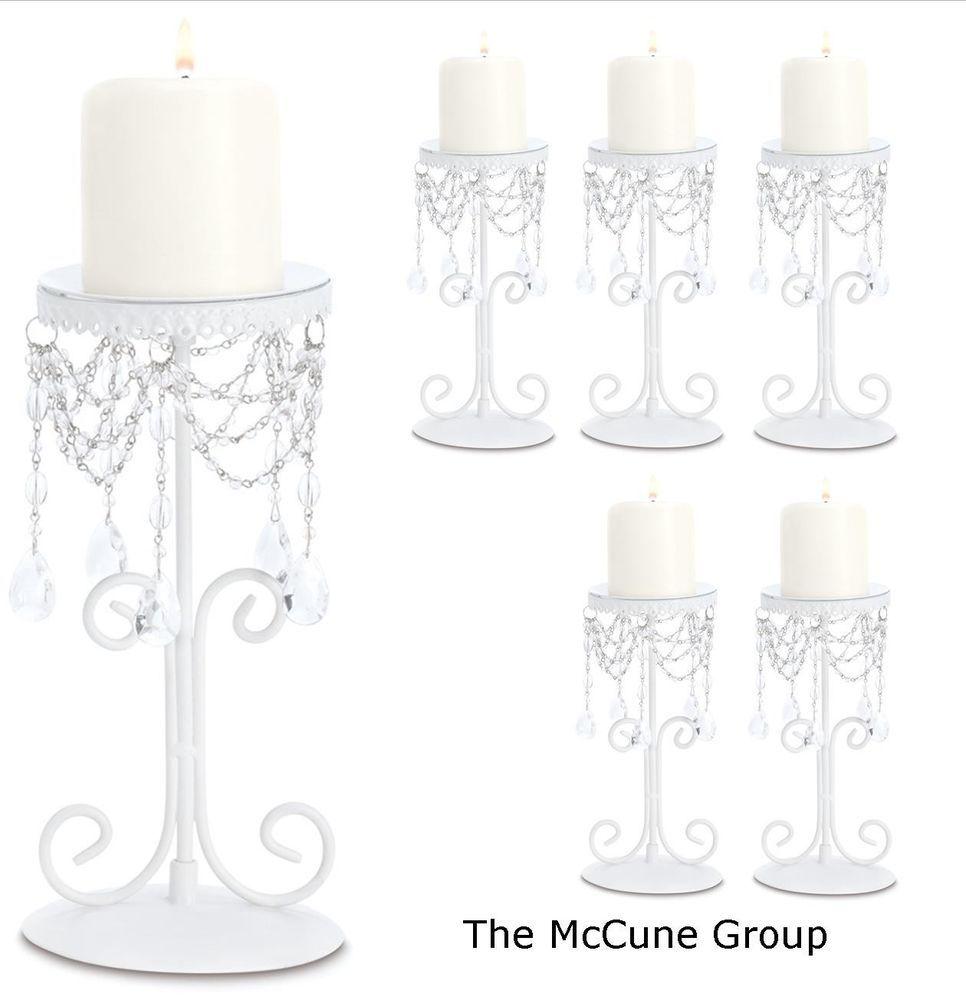 Lot of 6 Ivory Crystal Beaded Elegant Pillar CANDLE HOLDER WEDDING ...