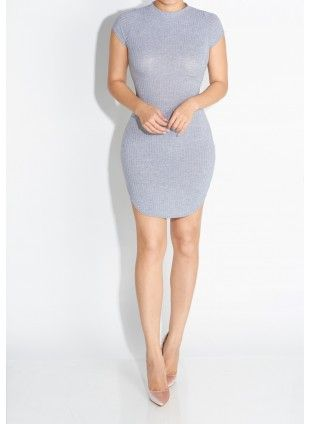 JLUXLABEL Heather Grey Sasha Ribbed Dress