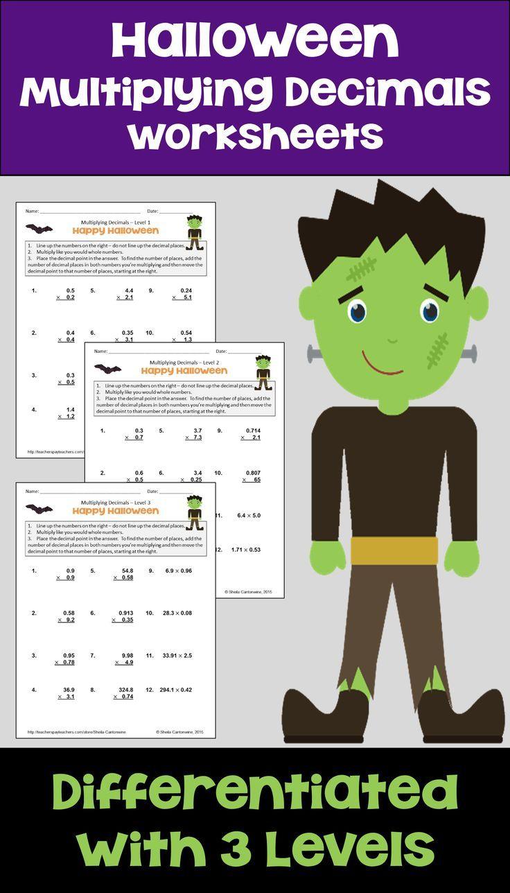 Halloween Math Multiplying Decimals Worksheets