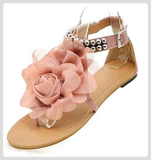 Aisun Damen Blumen Perlen Knöchelriemchen Flache Zehentrenner Römersandalen Pink 36 EU RoXHONw93F