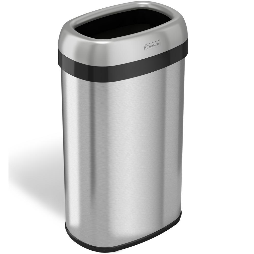 Itouchless 16 Gal Oval Open Top Commercial Grade Stainless Steel Trash Can And Recycle Bin 12 In Opening With Dual Deodorizer Ol16stv The Home Depot Trash Can Recycling Bins Garbage Can