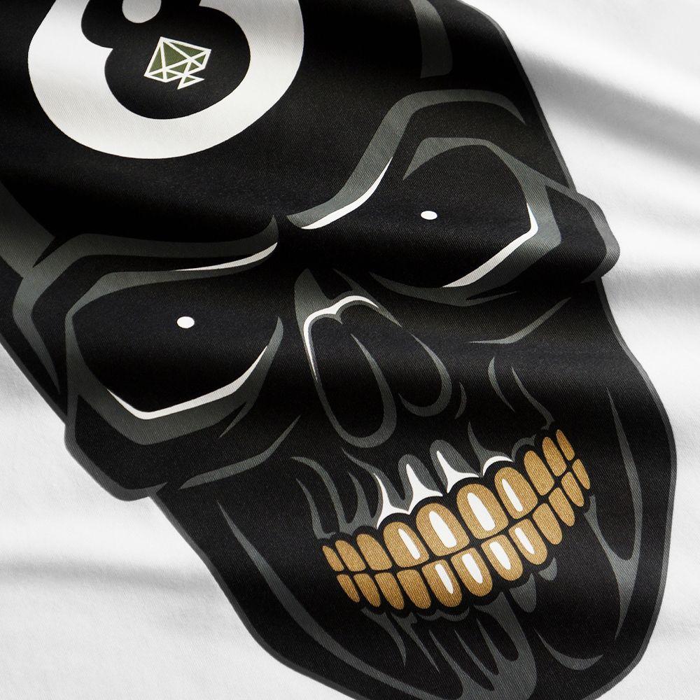 8 Ball Skull T Shirt White 8 Ball Skull Is A Symbol Of Luck On The