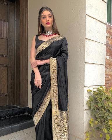 Black Partywear Pure Lichi Silk Saree Weaving Work