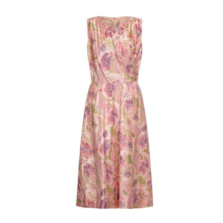 1950s Mainbocher Pale Pink Floral Silk Couture Dress For ...