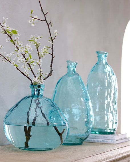 Teal blue glass vase accessories