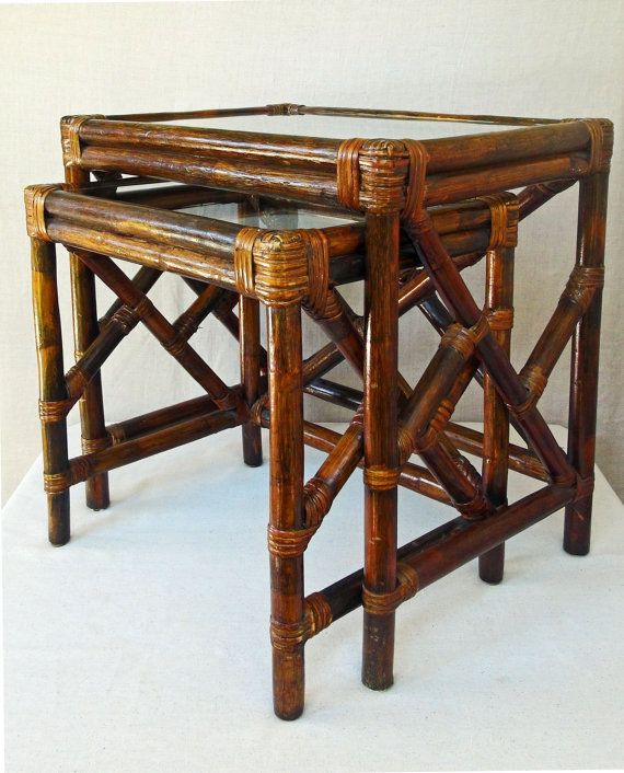 Vintage Bamboo Rattan And Glass Nesting Tables End By RedouxChic, $185.00
