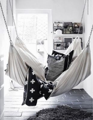 black and white room with hammock