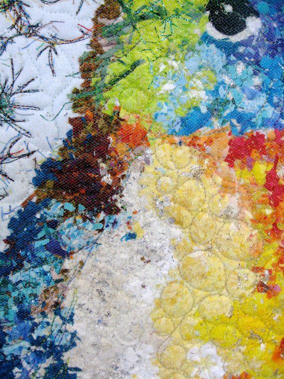 Fiber Art Quilt Spring Bird Confetti Quilt Wall by SallyManke | Bird ...