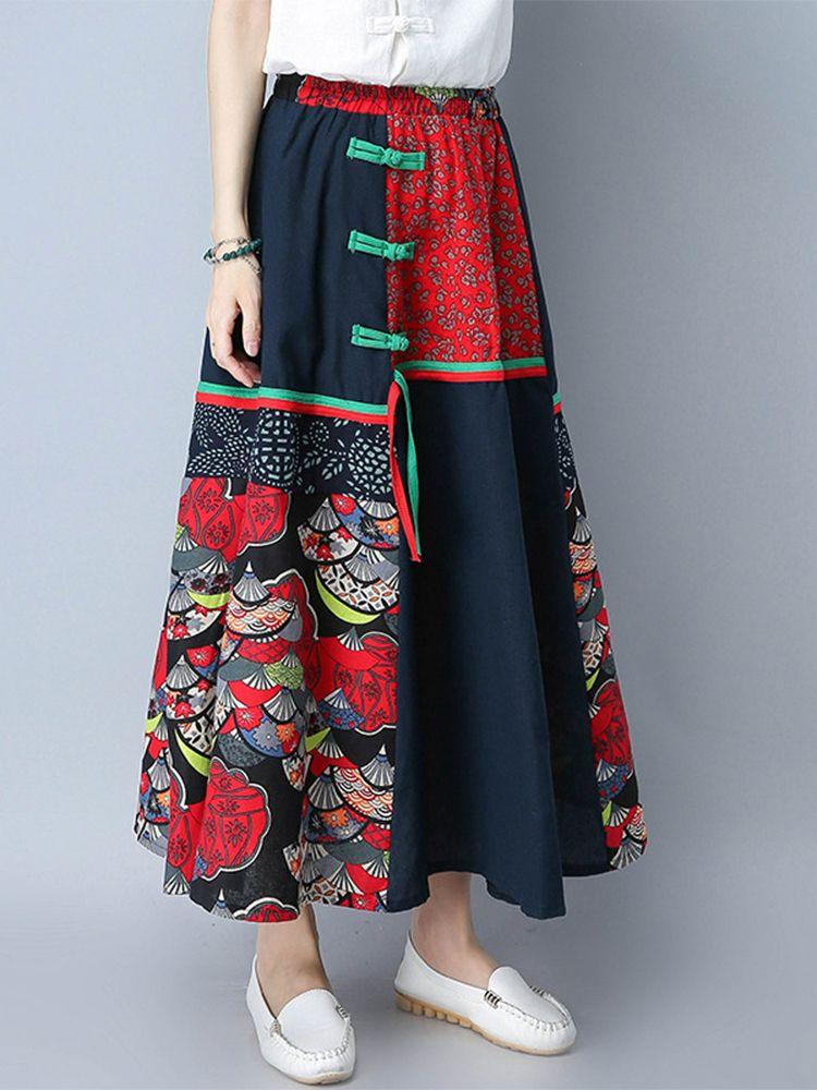 e26ad6b748f Hot-sale Ethnic Women Patchwork Elastic Waist Loose Maxi Skirts - NewChic