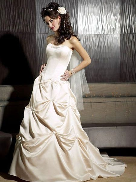 Shop A Line Sheath Sweetheart Sleeveless Ruching Pick Up Skirt Empire Sweep Train Satin Wedding Dresses Online