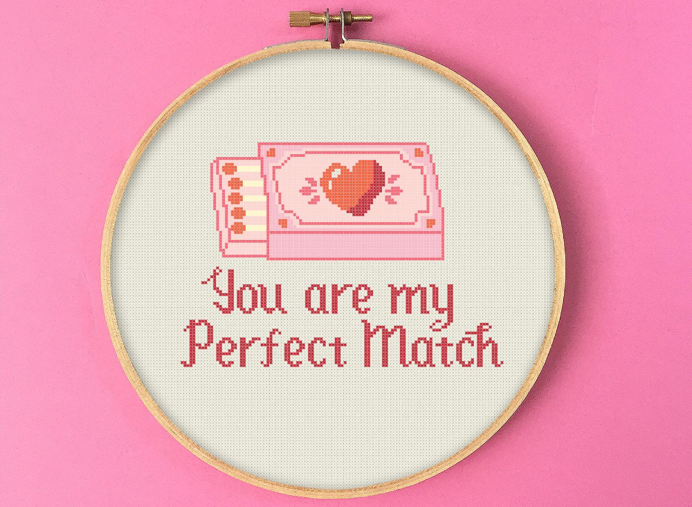 You Are My Perfect Match Cross Stitch Pattern, Valentines