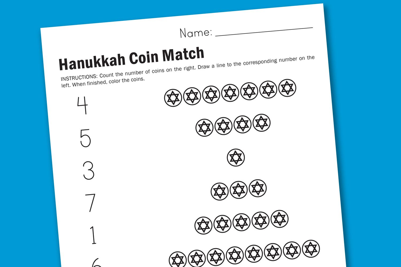 Hanukkah Coin Counting Worksheet