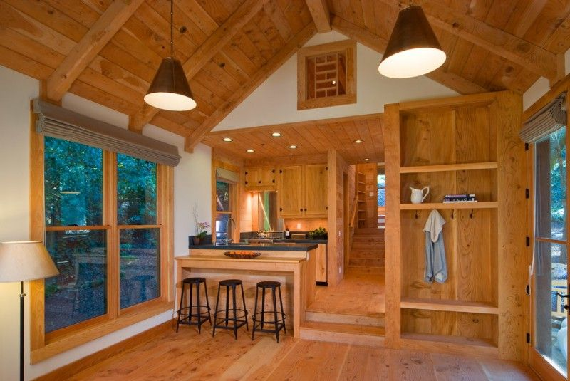 Cabin Designs And Floor Plans Stools Cool Lamps Built In Shelves Wood Ceiling Wall Cabinets Dark Counte Tiny Cabins Interiors Cabin Interiors Tiny House Design