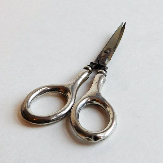 Vintage 1914 Edwardian British Sewing or Manicure Scissors with Sterling Silver Handles - Small, Plain Embroidery Scissors - Steel Blades