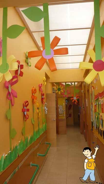 Decorar los pasillos del colegio esta primavera for Decoracion de pasillo con escaleras