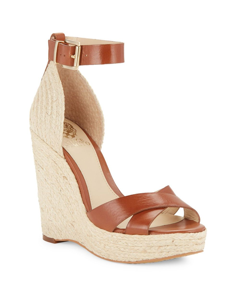 "<ul><li>Vintage appeal with crossed straps</li> <li>Jute covered heel, 4""</li> <li>Jute covered platform, 1""</li> <li>Compares to a 3"" heel</li> <li>Adjustable ankle strap with buckle closure</li> <li>Leather upper</li> <li>Open toe </li> <li>Fabric trim</li>"